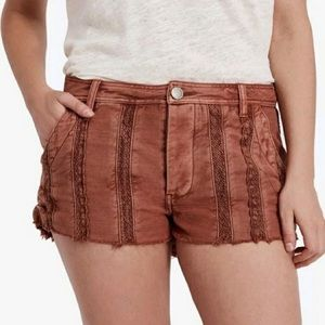 Free people peach lace cut off shorts